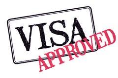 Tampon en caoutchouc approuvé de passeport de visa d'isolement sur le fond blanc photo libre de droits