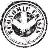 Tampon en caoutchouc avec la crise économique des textes illustration stock