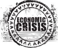 Tampon en caoutchouc avec la crise économique des textes illustration libre de droits