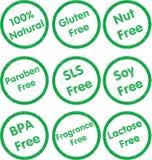 Tampon en caoutchouc d'allergène réglé - vert Photo libre de droits