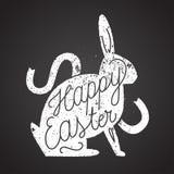 Tampon en caoutchouc de lapin de Pâques Étiquette de cru Photographie stock libre de droits