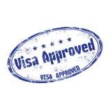 Tampon en caoutchouc grunge approuvé de visa Photos stock