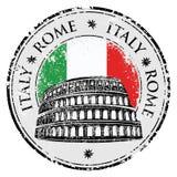 Tampon en caoutchouc grunge avec Colosseum et le mot Rome, Italie à l'intérieur, vecteur Images stock