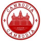 Tampon en caoutchouc grunge avec le nom du Cambodge Image libre de droits
