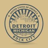 Tampon en caoutchouc grunge avec le nom du Michigan, Detroit illustration de vecteur