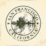 Tampon en caoutchouc grunge avec San Francisco, la Californie Images libres de droits
