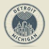 Tampon en caoutchouc grunge ou label avec le texte Detroit, Michigan illustration stock