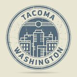 Tampon en caoutchouc grunge ou label avec le texte Tacoma, Washington illustration stock