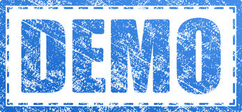 Tampon en caoutchouc minable de style grunge bleu de démo Image stock