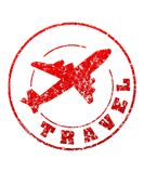 Tampon en caoutchouc rouge de voyage avec l'avion pour votre conception illustration libre de droits