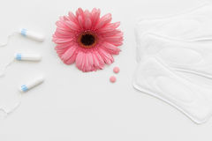 Tampon, hygiene pad, birth control pill, flat lay Royalty Free Stock Photos