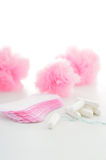 Tampon and sanitary napkins on white background. feminine hygien Stock Images