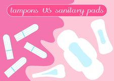 Tampon vs pads comparison. Feminine hygiene products. Illustration for your choice in bloody month period. Menstruation time, mens stock illustration