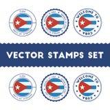 Tampons en caoutchouc cubains de drapeau réglés illustration libre de droits