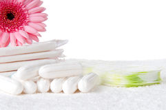 Tampons and pads. Health care and medicine - tampons and pads on background Royalty Free Stock Image