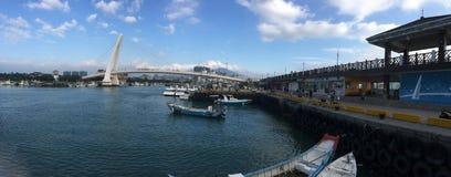 Tamsui Fisherman`s Wharf Lover`s bridge stock image