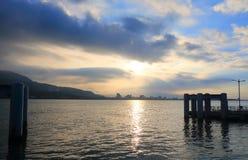 Tamsui Harbour sunset Taipei Taiwan Royalty Free Stock Photos