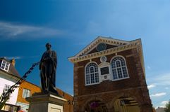 Tamworth Town. Low angle view of statue in Tamworth town with old building in background, Staffordshire, England Royalty Free Stock Photo