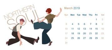 2019 tanów kalendarz maszerujący Potomstwo para tanczy Północną duszę royalty ilustracja