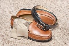 tan кожаных ботинок платья Стоковая Фотография RF
