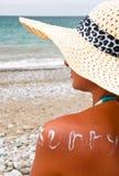 Tan, солнце, пляж Стоковые Изображения RF