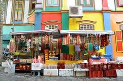 Tan滕国Niah五颜六色的房子在新加坡的一点印度 库存照片