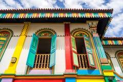Tan滕国Niah五颜六色的议院在一点印度,新加坡 免版税图库摄影
