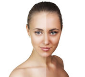 Tan before and after. Beautiful young woman isolated on white. Tan before and after Stock Photography