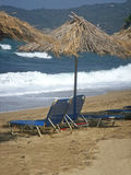 Tan beds and hut. On the beach Aselinos of Skiathos - Greece Stock Image