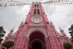 Tan Dinh Church - l'église catholique rose en Ho Chi Minh City, photographie stock