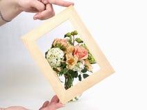 Tan enmarcó floral Foto de archivo