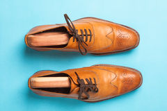 Tan fashionable male brogue shoes. On blue background viewed from above Stock Photography
