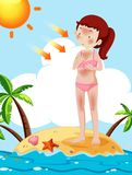 A Tan Girl at the Beach. Illustration Royalty Free Stock Photography