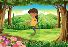 A tan girl at the forest. Illustration of a tan girl at the forest Stock Photo