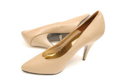 Tan high heel shoes Stock Image