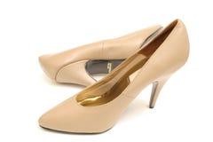 Tan high heel shoes Stock Image