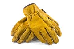 TAN-Leder-Arbeits-Handschuhe Lizenzfreie Stockfotografie