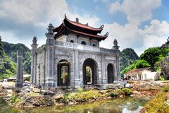 Tan Loc, Vietnam. A structure being reconstructed in the ancient Vietnames capital of Tan Loc Stock Photos