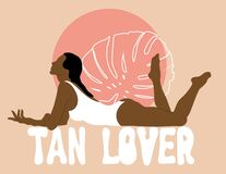 Free Tan Lover. Vector Hand Drawn Illustration Of Woman With Palm Leave Isolated. Stock Images - 173973394