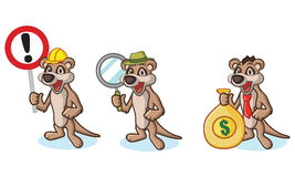 Tan Meerkat Mascot with money Royalty Free Stock Image