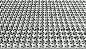 Tan muchos balones de fútbol, un blanco, ejemplo 3d Imágenes de archivo libres de regalías