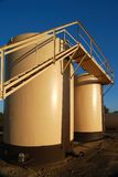 Tan Oil Storage Tanks Stock Image