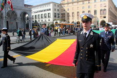 TAN parade of foreign navies. Belgium flags Stock Photography