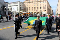 TAN parade of foreign navies. Brazil flags Royalty Free Stock Images