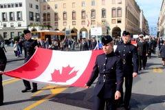 TAN parade of foreign navies. Canada flags Stock Photos