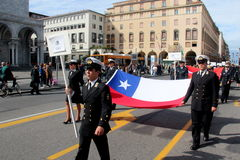 TAN parade of foreign navies. Chile flags Royalty Free Stock Photography