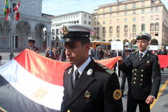 TAN parade of foreign navies. Egypt  flags Stock Photography