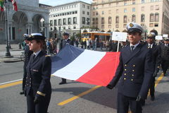 TAN parade of foreign navies. France flags Royalty Free Stock Photography