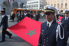 TAN parade of foreign navies. Marocco flag Stock Image