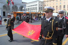 TAN parade of foreign navies. Montenegro flag Stock Photos